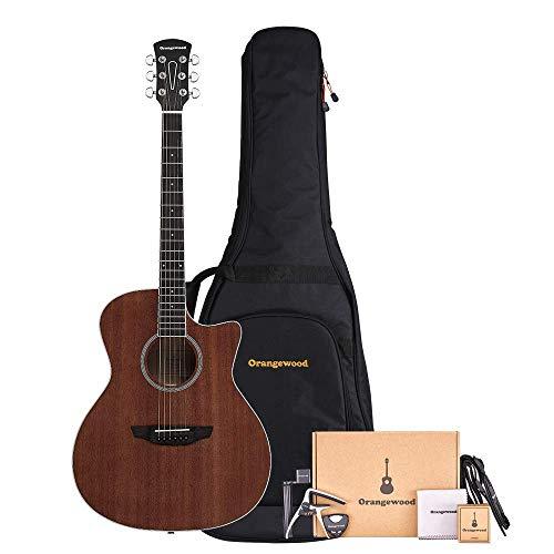 Orangewood 6 String Acoustic Guitar Pack, Right, Mahogany, Cutaway (OW-REY-M-AK)
