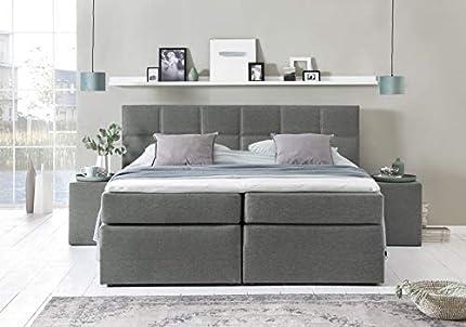 """Cama box spring """"Bea"""" de Möbelfreude®: cama de hotel de primera categoría; patrón de acolchado cuadrado; colchón muelles Bonell + colchón de muelles ensacados con 7 zonas, cubrecolchón VISCOELÁSTICO incl.; cama tapizada americana (Gris claro H2/H3, 180_x_200_cm)"""