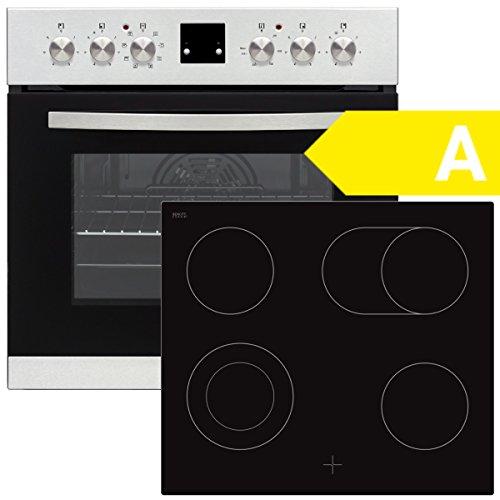SCHOEPF EHS Multi 8F Edelstahl Einbauherd Set/EEK: A/Glaskeramik-Kochfeld mit 2Kreis-Kochzone und Bräterfunktion/Digitalanzeige / 8 Programme