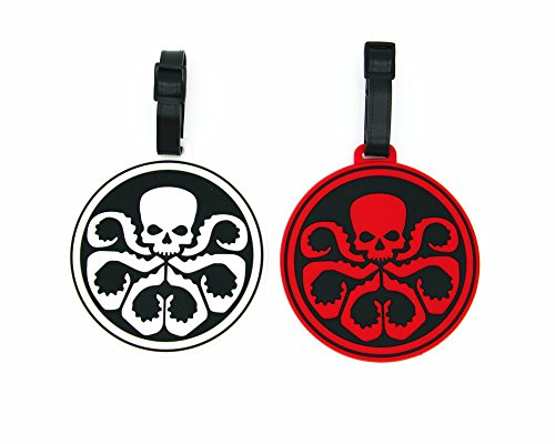 CellDesigns Cartoon Set Luggage Tag with Adjustable Strap (2 Pack Skull Octopus Marvel Avengers HYDRA Logo Symbol)