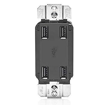 Leviton USB4P-E 4.2-Amp High Speed 4-Port USB Charger Black