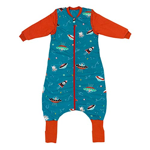 Schlummersack Ganzjahres Schlafsack mit Beinen und verlängerten Fußbündchen zum Umklappen in 2.5 Tog mit abnehmbaren Ärmeln - Space - 90 cm