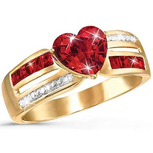 LINYIN Anillos de Lujo de 2pcs con Piedras Preciosas Rojas y Diamantes Moda Populares para Damas Creativa Fiesta Anillo 10号 Ring
