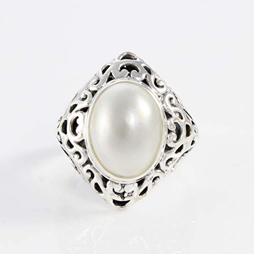 Antique design with white mabe pearl,Bali Handmade 925 sterling silver ring with diet cultured mabe, enchanting 10 * 14 mm white mabe, ring size 8 us, ring white mabe pearl