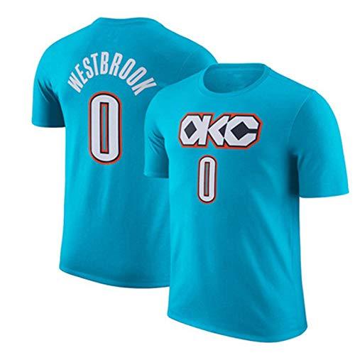 Maglia Manica Corta NBA Thunder Westbrook # 0 Tuta da Allenamento Mezza Manica T-Shirt Fan OKC,Skyblue(0)-M