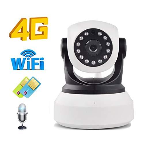 Telecamera IP WiFi 720P 4G SIM Card, Telecamera Wireless P2P HD P2P Network Audio Bidirezionale IR Visione Notturna SD Card Telecamera Interna, Smart Pan/Tilt