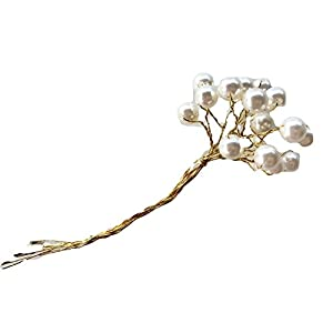 Silk Flower Arrangements 10 mm Ivory Artificial Pearls on Gold Wire Picks p 5.5 inches Long, Floral Arrangements, corsages, Bouquets, Hair Accessories, Wedding Decor, Showers, Reception