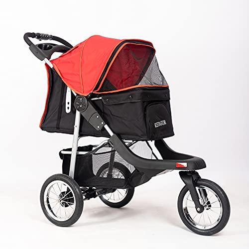KETAGUR Pet Stroller for Small Medium Dogs & Cats, 3-Wheels Foldable Dog Stroller (Red)