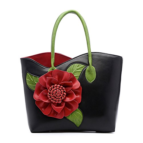 Women 3D Flower Seris PU Leather Tote Bag By Vanillachocolate (Large, Black)