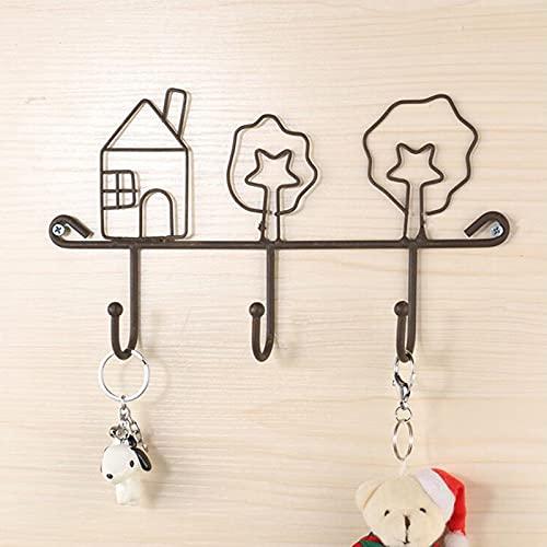 feiren Ganchos de pared para cocina de hierro forjado negro colgador de pared organizador clave gancho creativo hogar accesorios decorativos A