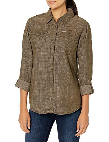 Columbia Times Two Corduroy Long Sleeve Shirt Camisa, Cuadros sólidos de Color Verde Oliva, S para Mujer