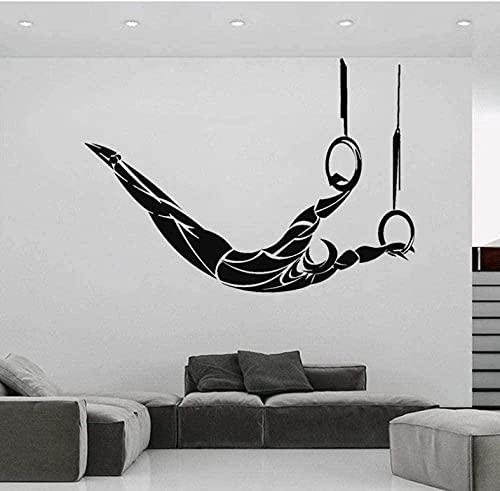 Calcomanías de vinilo para pared decoración de la pared gimnasia aérea gimnasia aérea hobby decoración del hogar gimnastas anillo deportivo 42x58 cm