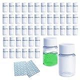 GZcaiyun - 50 botellas de plástico portátiles con tapa de rosca de 20 ml, para...