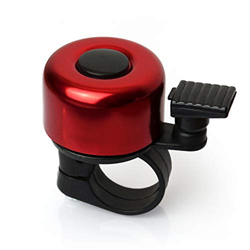 TF-Mind Fahrradklingel mit hellem Klang aus hochwertigem Aluminium super leicht mit Halterung für Mountainbike E-Bike Kinderfahrrad Roller Fahrradglocke Klingel MTB Aluminiumlegierung (Rot)