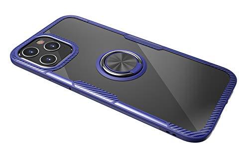 SORAKA Funda Transparente para iPhone 12 Pro MAX con Anillo,Funda Transparente Duro de la PC+Parachoques de Silicona,con Placa de Metal para Soporte Móvil Coche Magnético