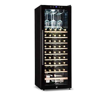 Klarstein Barossa 54S Wine Cooler with Glass Door - Wine Cooler, Wine Tempering Cupboard, 148 L, 54 Bottles, 5 to 18 ° C, Glass Door, LCD, LED Interior Lighting, Touch Control, Black by Klarstein
