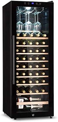 KLARSTEIN Barossa - Refrigerador para vinos, Temperatura Regulable 5-18 °C, Estantes de Madera rebatibles, Pantalla LCD, Iluminación Interior LED, Puerta de Vidrio, 54 Botellas, Negro