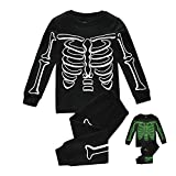 Kids Pajamas For Boys Skeleton Glow-in-The-Dark Cotton Sleepwear Toddler Clothes Halloween Ghost Outfit Size 2-7T