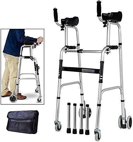 Rollator Walker Seniors Rollator interior Wheeled Wheel Wheer Postura vertical Rolling Walker con la almohadilla de apoyo del reposabrazos, Rollator Medical Walker Walker, Ayuda de Ancianos que camina