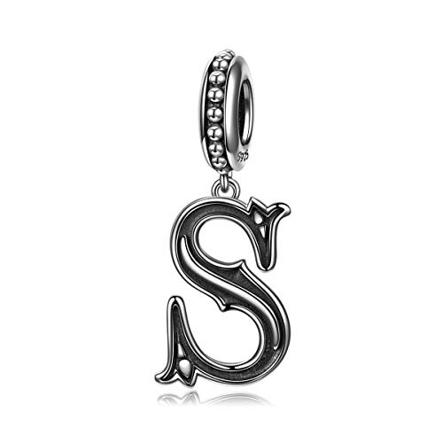 NINAQUEEN Letter S Charms Alphabet Charm 925 Sterling Silver Roman Style Dangle Charms Women Bracelet Birthday Anniversary Valentines Day Jewelry Gifts for Her Teen Girls Wife Mom Daughter Niece