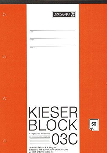 "Kieserblock 03C ""BRUNNEN"" 50 Blatt / Lineatur 3 - DinA4 / 80 g"