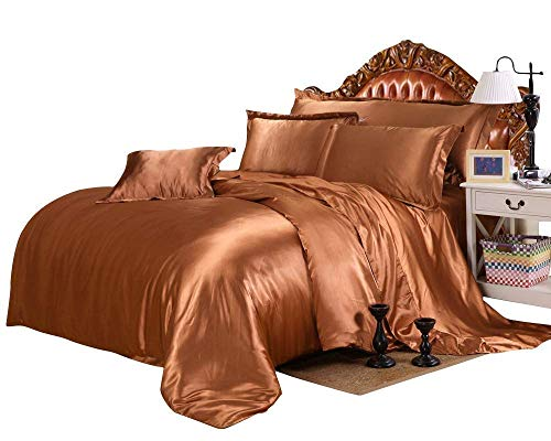 Best Bedding Luxurious Ultra Soft Silky Satin 4 Piece (1 Flat Sheet + 1 Fitted Sheet + 2 Pillow Cases) Comfortable Bed Sheet Set with 24 inches Deep Pocket, Brown, Cal-King