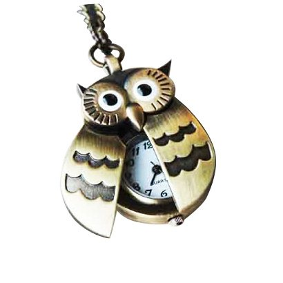 SODIAL(WZ. Fliegende Fluegel Eule Anhaenger Uhrenkette Taschenuhr Halskette