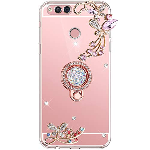 Herbests Kompatibel med Huawei Honor 7X fodral glänsande diamant kristall strass glitter spegel fjäril blommor mobiltelefonfodral silikon skyddande skal med mobiltelefon fingerhållare, roséguld