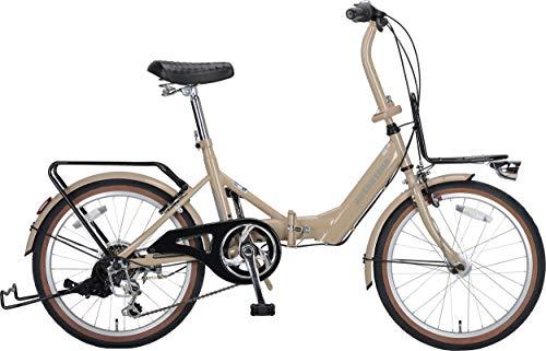 キャプテンスタッグ(CAPTAIN STAG) コンタナ 20インチ 折りたたみ自転車 FDB206 [ シマノ6段変速 /前後キャリア/リング錠/SHIMANO HILMO LEDライト/前後泥よけ/BAA ] 標準装備 カフェラテ YG-1364