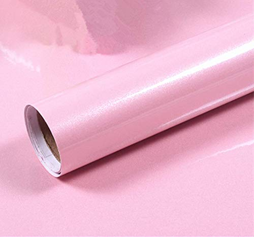 Bestevers Solid Color Pearl Film Vinyl Self Adhesive Counter Top Peel Stick Wallpaper Decal,24''x79'' (Pink)