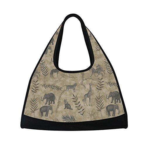 TIZORAX vintage Elephant Giraffe Tiger Zebra cervo, borsone da viaggio palestra borsa a tracolla