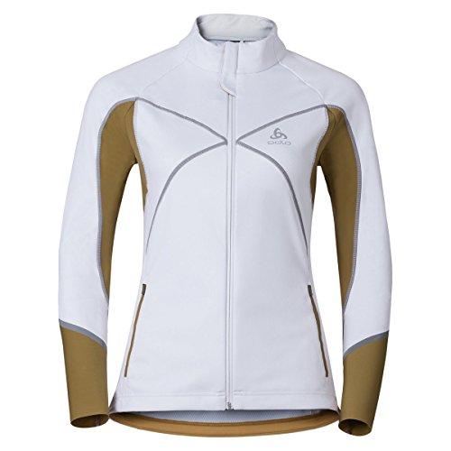 Odlo Damen Nagano X Windstopper Jacket Sportjacke, Mehrfarbig (White/Dull Gold 10361), 32 (Herstellergröße: Large)