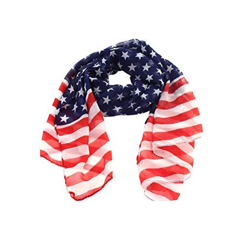 Fenical Schal-weicher Schal-amerikanische Flagge Stars and Stripes langer Chiffon- Schal-Schal-Tuch