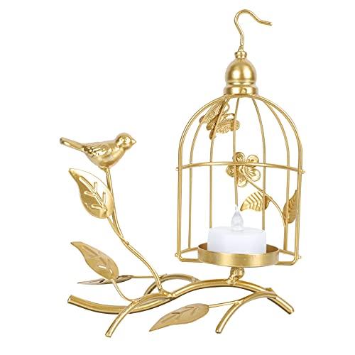 PATKAW Portavelas de Pájaro Dorado con Soporte Ahuecado Jaula de Pájaro Vintage Colgante Candelabro Linterna para Decoración de Centro de Mesa de Boda en Casa ( Dorado )