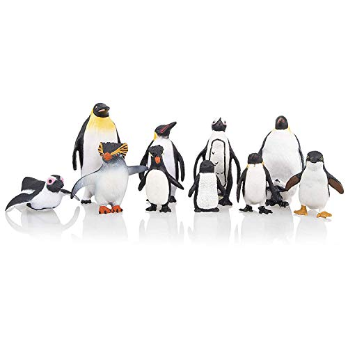 TOYMANY 10PCS Realistic Penguin Figurines, Plastic Polar Arctic Animal Figures Antarctic Set with Different Varieties of Penguin, Easter Eggs Cake Toppers Christmas Birthday Gift for Kids Toddlers