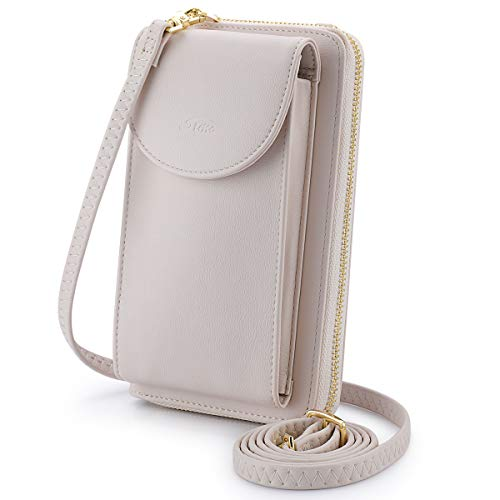 S-ZONE PU Leather RFID Blocking Crossbody Phone Bag for Women Small Cellphone Wallet Purse Pouch (Beige RFID Blocking)