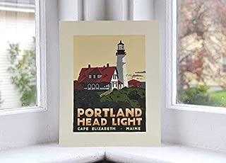 Portland Head Light, Maine Print (8x10 Lighthouse Travel Poster, Wall Decor Art)