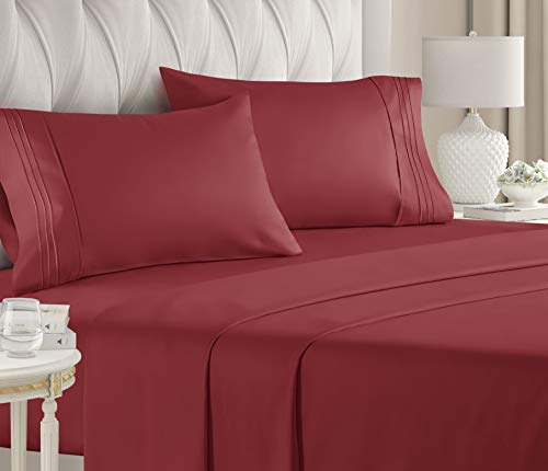 Twin Size Sheet Set - 3 Piece Set - Hotel Luxury Bed Sheets - Extra Soft - Deep Pockets - Easy Fit - Breathable & Cooling - Wrinkle Free - Comfy – Burgundy Bed Sheets - Twin Sheets – 3 PC