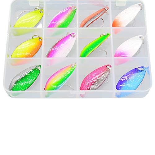 MOPOIN Fishing Forellen Spoon Set, 12 Spoons 3g mit Box Forellenköder Set zum Forellen Angeln Forellen Blinker UV Spoons Forellen Köder Forellen Set Spoon Forelle