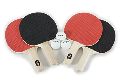 STIGA RecreationalQuality Classic Table Tennis Set for Family Play Includes 4 Rackets and 3 White 1Star Balls 2 Player