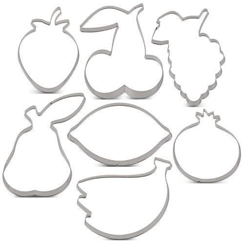 KENIAO zestaw foremek do ciastek owocowych – 7 sztuk – truskawka, gruszka, cytryna, winogrona, granat, wiśnia i bananowa foremka do ciastek fondnat – stal nierdzewna