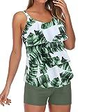RXCOCO Plus Size Tankini costumi da bagno per le donne con pantaloncini tankini top pancia controllo costume da bagno Foglia verde. L