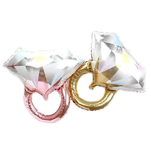 Toyvian 2 Piezas Anillo de Diamantes Globos Forma de Anillo Globos de Aluminio Boda romántica Ducha Nupcial Aniversario Fiesta de Compromiso Decoración - Tamaño Grande (Oro Rosa y Oro)