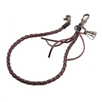 Uniqsum Braided Genuine leather wallet chain Swivel Trigger snap Biker Punk Key chain  Vintage DB