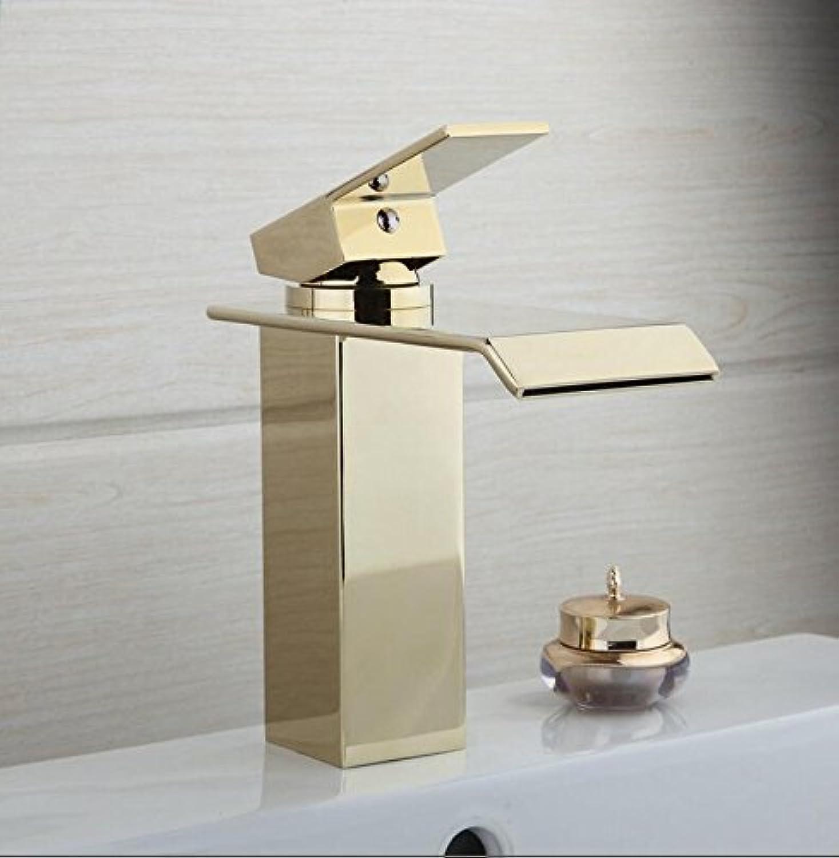 Mkkwp Luxury golden Brass Bathroom Basin Sink Mixer Tap Faucet Hot & Cold Mixer Waterfall Tap
