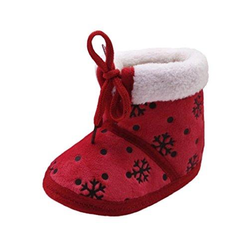 Babyschuhe Longra Kleinkind Baby Mädchen Jungen Weihnachts Schneestiefel Schnee-Druck Winterstiefel Unisex Baby Warm Krippe Schuhe Baumwolle Stiefel (0-18Monate) (12CM 6~12 Monate, Red)