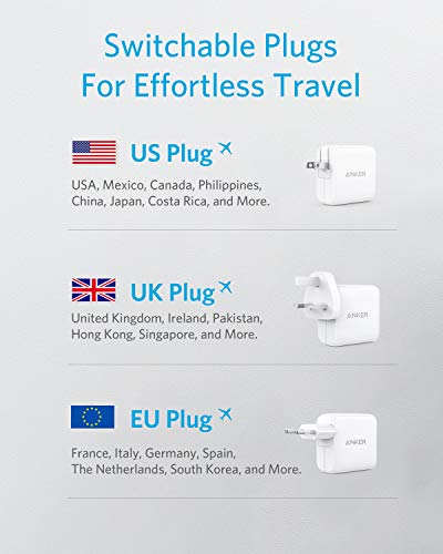 Anker PowerPort III 65W PIQ 3.0 Typ-C Ladegerät, mit austauschbaren US/UK/EU Steckern, ideal für Reisen, kompatibel mit MacBook, iPad Pro, iPhone, Galaxy usw.