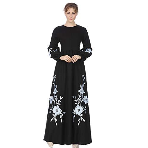 QinMM M-Muslim Damen Chiffon Langarm Kleid Lang Stil - Elegant Stickerei Print Large Size Embroidery Robe Rayon Formale Modem Abendkleid Größe Abaya Dubai Islamischen Hochzeitskleid Top S-XXL