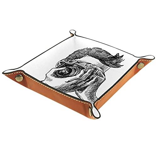 AITAI Nachttisch-Organizer aus veganem Leder, Schreibtisch-Aufbewahrung, Teller, für Fotografen, Skizzen und Porträtaufnahmen
