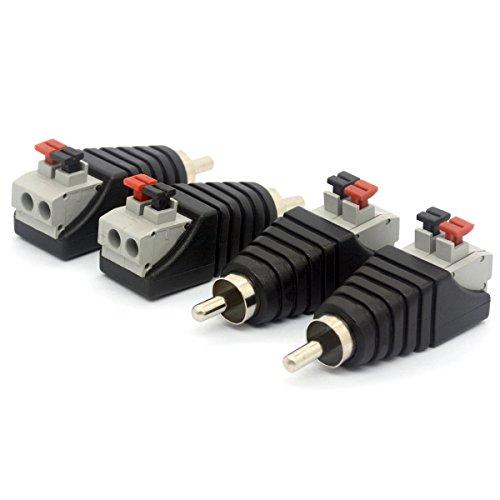 Connettore di alimentazione DC per CCTV, da maschio RCA (Phono) a femmina AV 2 viti terminali, balun audio video, adattatore con molla a pressione  RCA Male To AV 2 Screw Female